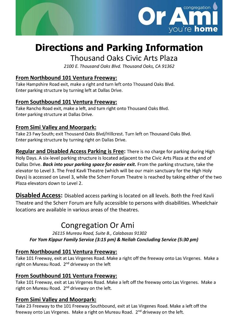 high holidays parking and directions or ami calabasas high holy days thumbnail