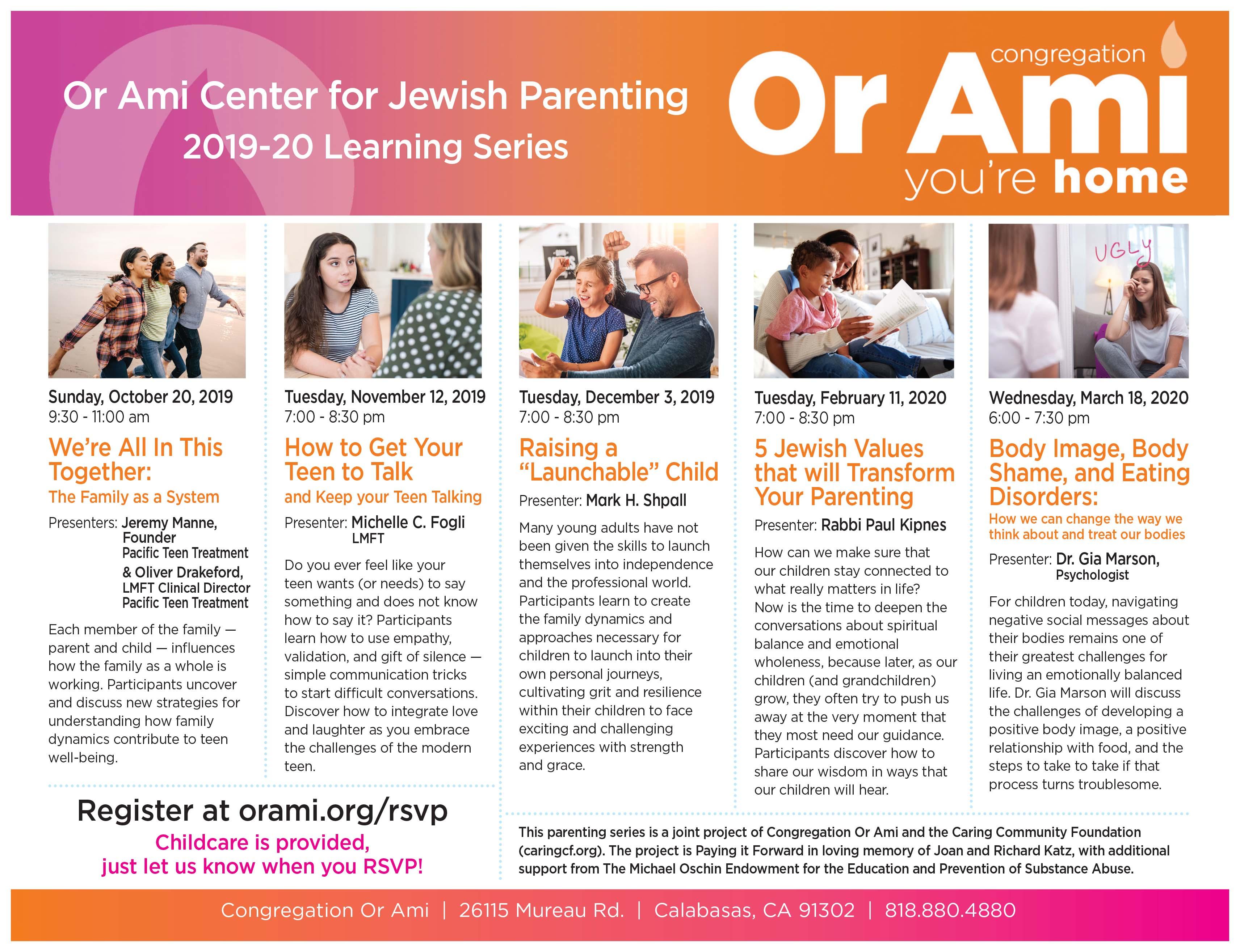 Or Ami Parenting Workshops Flyer 2019-2020